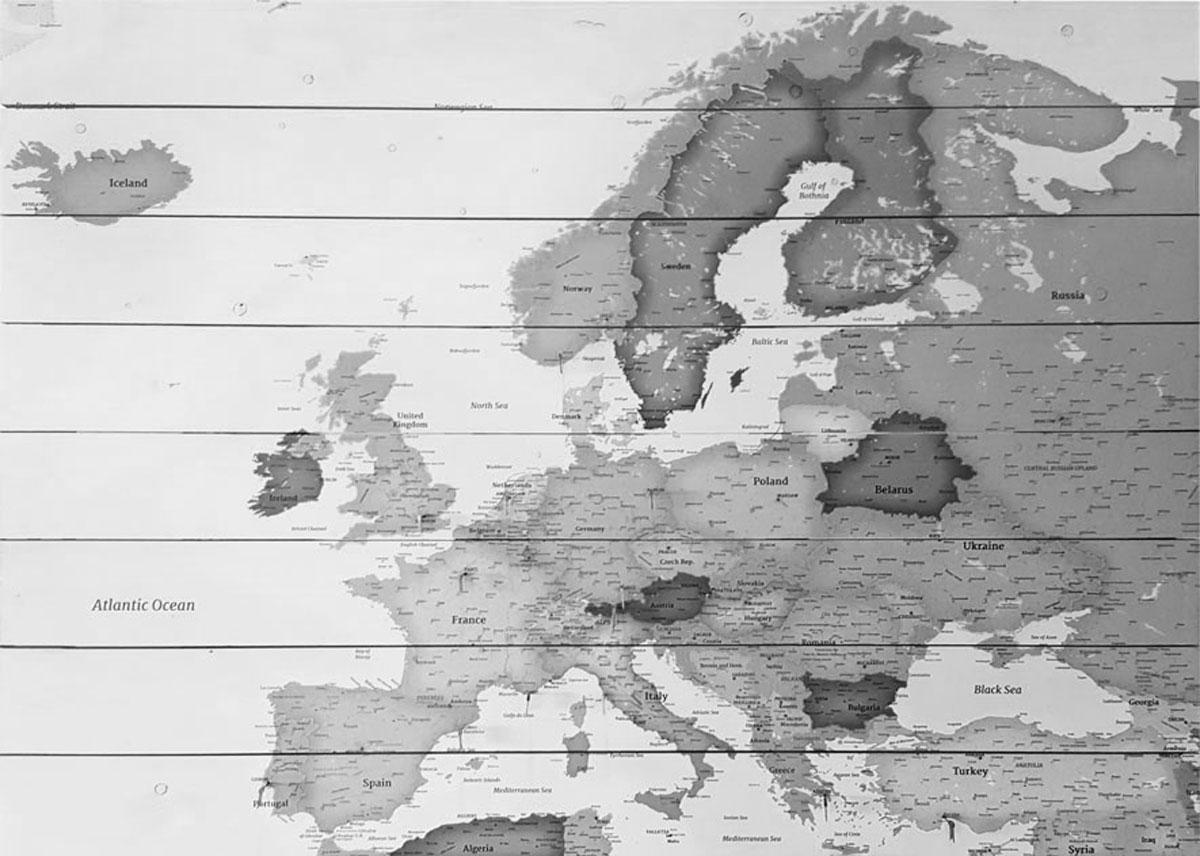 Europakaart Op Hout Zwart Wit Bestellen Ontvang 100 Gratis Prikkers