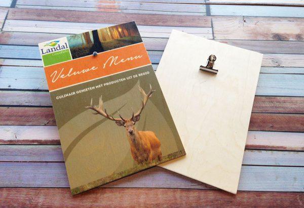 houten menukaarten met klem