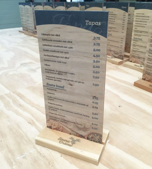 menukaart hout saunadrome
