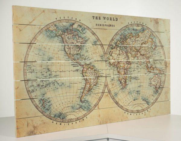Wereldkaart Klassiek op Hout