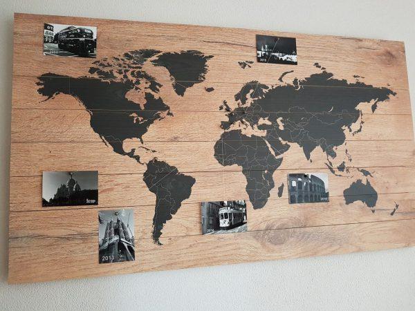 Wereldkaart op Hout Memories