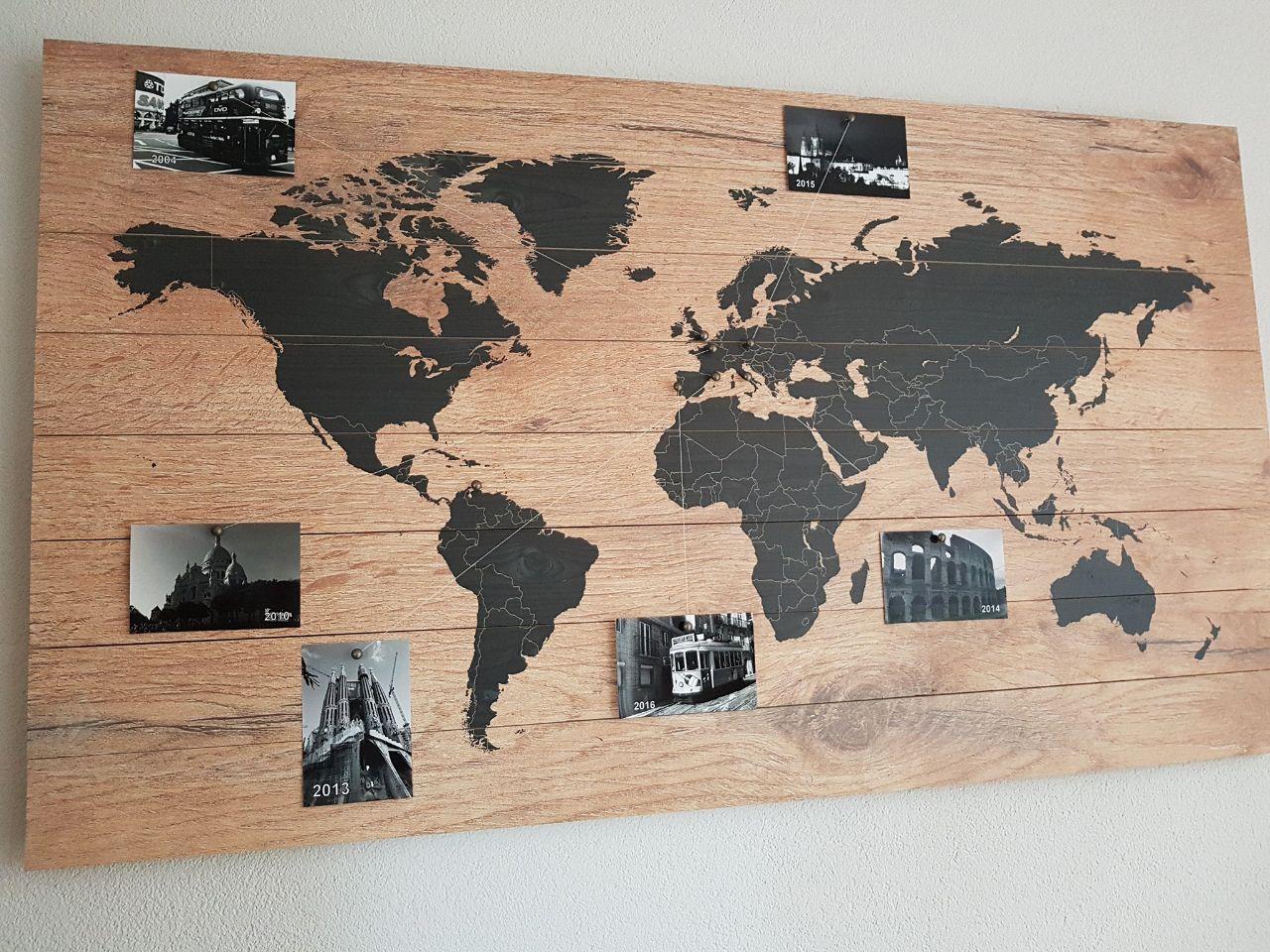 Super Wereldkaart op Hout Memories Kopen? Nu 100 Gratis Pins of Vlaggetjes RL-59