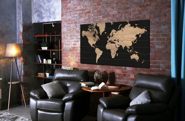 Wereldkaart op Hout Wood