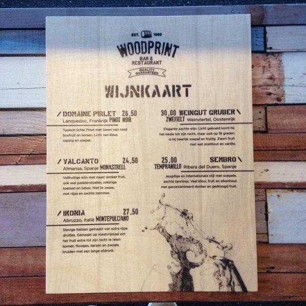 houten menukaart woodprint