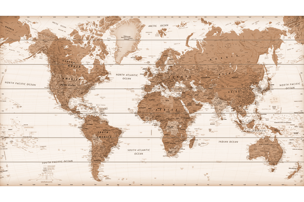Houten-Wereldkaart-Sepia
