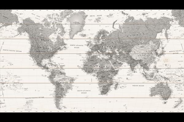 Houten-Wereldkaart-Zwart-Wit