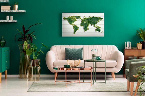 Wereldkaart op Hout Green
