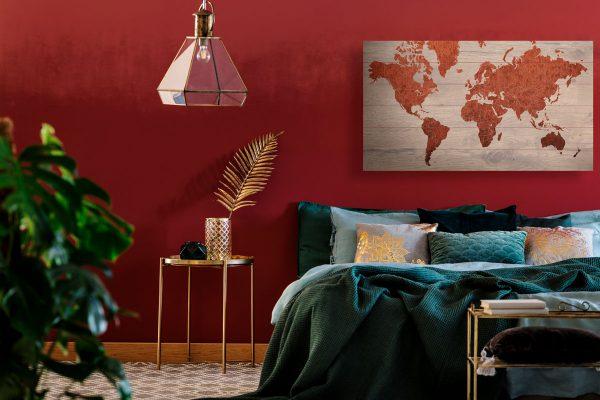 Wereldkaart op Hout Koper