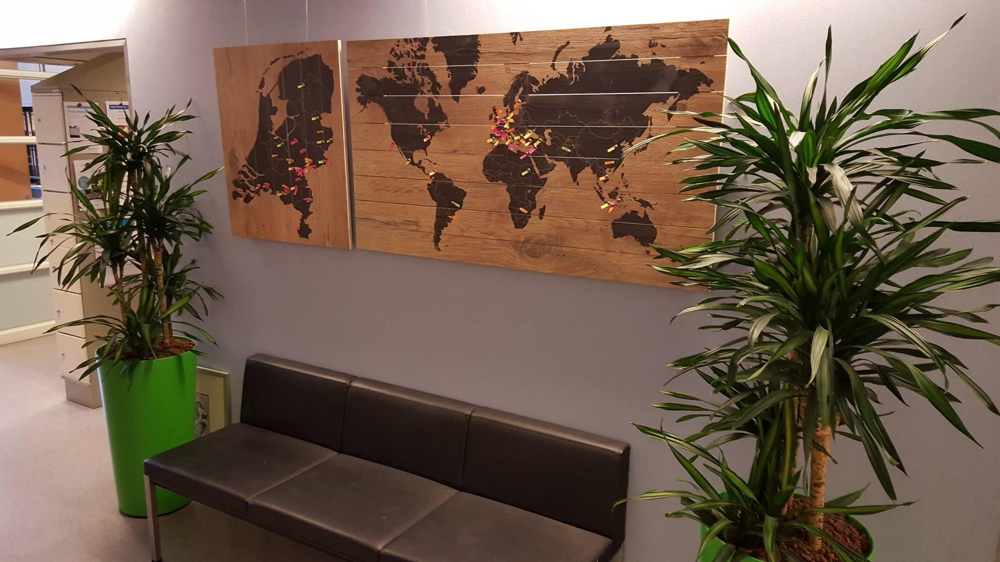 Wereldkaart op Hout aan muur