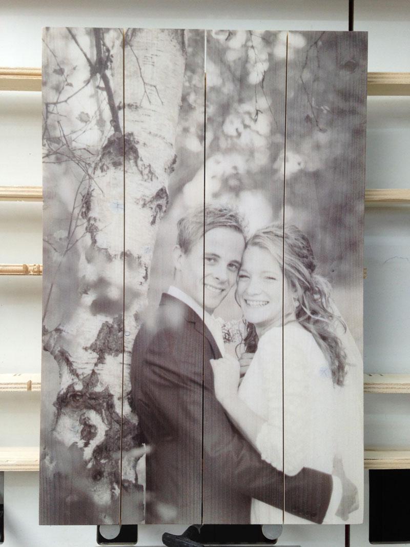 bruiloftfoto op hout